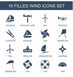 16 wind icons vector