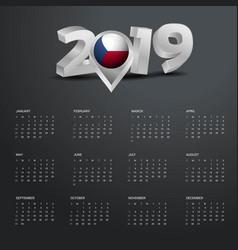 2019 calendar template grey typography with czech vector