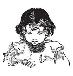 A innocent face a boy vintage engraving vector