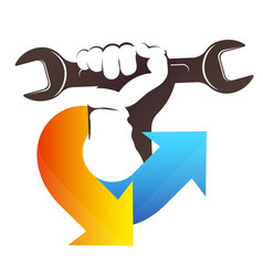 Air conditioner repair wrench in hand symbol vector