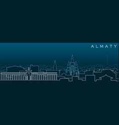 Almaty multiple lines skyline and landmarks vector