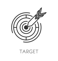 Arrow and target isolated outline icon goal vector