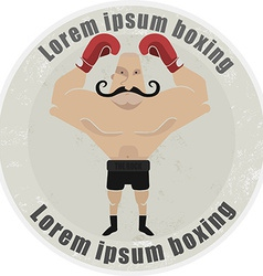 Athletic emblem with mustached boxer vector image