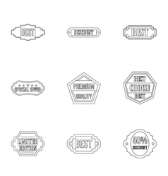 Badge icons set outline style vector
