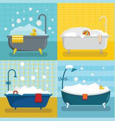 Bathtub foam shower banner concept set flat style vector