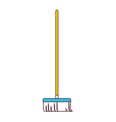 broom with wooden stick in color sections vector image