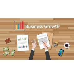 business growth businessman work on this table vector image