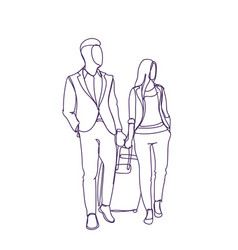 Business man and woman walking with suitcase vector