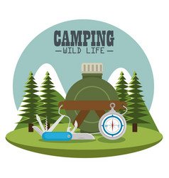 Camping zone with equipment vector