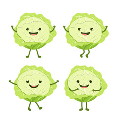 cartoon set with cabbage vector image