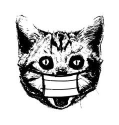 cat with mask hand drawn vector image