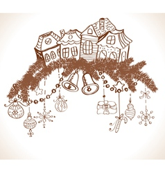 Christmas decoration with homes vector image