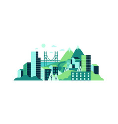 city landscape with high glass buildings green vector image
