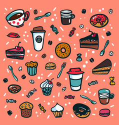 coffee background colorful doodle style cartoon vector image