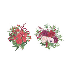 Collection of gorgeous bouquets or bunches of red vector
