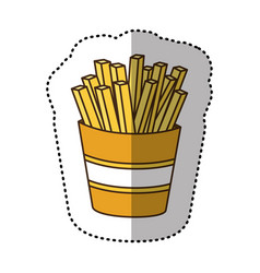Color fries french fast food icon vector