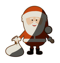 Colorful silhouette of santa claus with gift bag vector