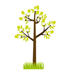 colorful silhouette tree leafy with grass vector image vector image