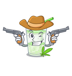 Cowboy fresh lassi bhang in glas cartoon vector