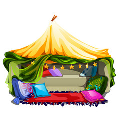 Cozy bed with soft blankets and pillows isolated vector
