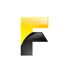 creative yellow and black symbol letter f for your vector image