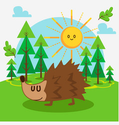 cute hedgehog in forest vector image