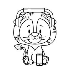 Cute little lion character vector