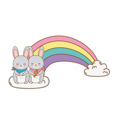 cute rabbits in clouds with rainbow woodland vector image
