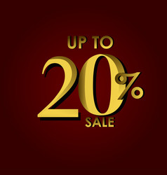 Discount sale label up to 20 red gold template vector