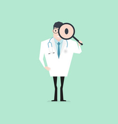 Doctor holding a magnifying glass and looking vector