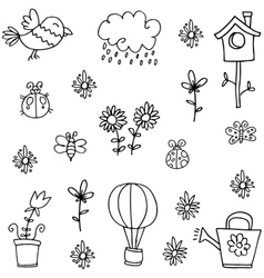 Doodle of spring set collection stock vector image