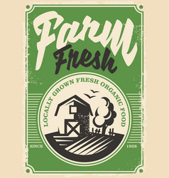 Farm fresh products retro poster vector