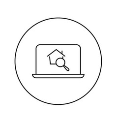 Find a home icon flat thin line vector