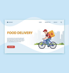 food delivery landing page cyclist with box vector image