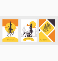 forest pine tree business card invitation vector image