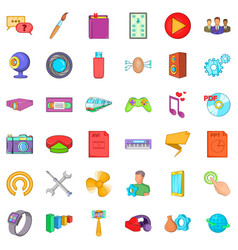 Game application icons set cartoon style vector