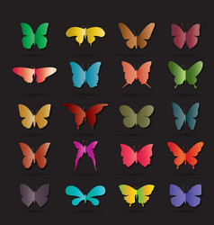 group colorful butterfly on black background vector image