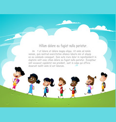 group of children going to school vector image