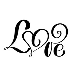 handwritten inscription love happy valentines day vector image