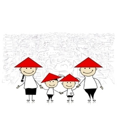 Happy family traveling in Asia Sketch for your vector image vector image