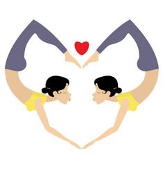 Heart yoga or gymnastics symbol vector