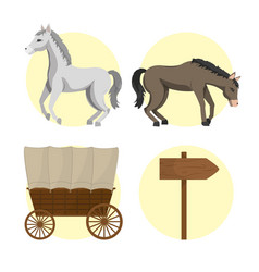Horse and carriages vector