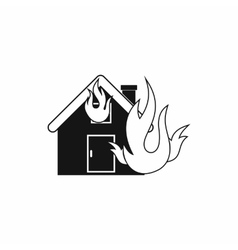 House on fire icon simple style vector image