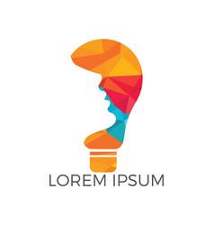 Human face and bulb logo design vector