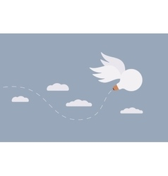 Idea bulb with wings is flying away in the sky vector