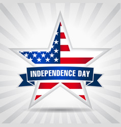 Independence day usa star ribbon vector