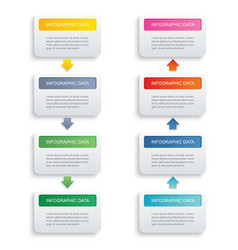 Infographics rectangle paper index with 8 data vector