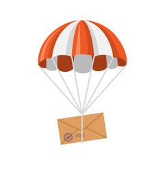 Letter descending on a parachute vector