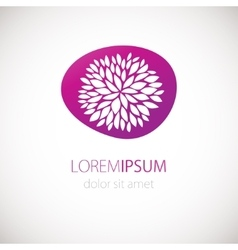Logotype design with flower chrisanthemum on pink vector