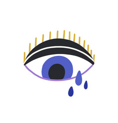 Magic blue evil eye with tears and eyelashes vector